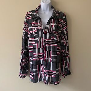 NY Collection shirt top plus size blouse pink gray